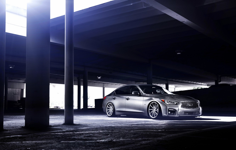 Photo wallpaper Infiniti, silver, vossen wheels, frontside, Q50S