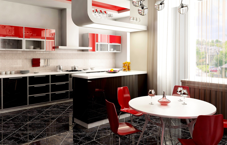 Photo wallpaper table, glass, chairs, window, kitchen, Studio