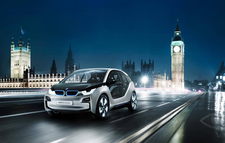 Photo wallpaper Concept, night, London, BMW i3