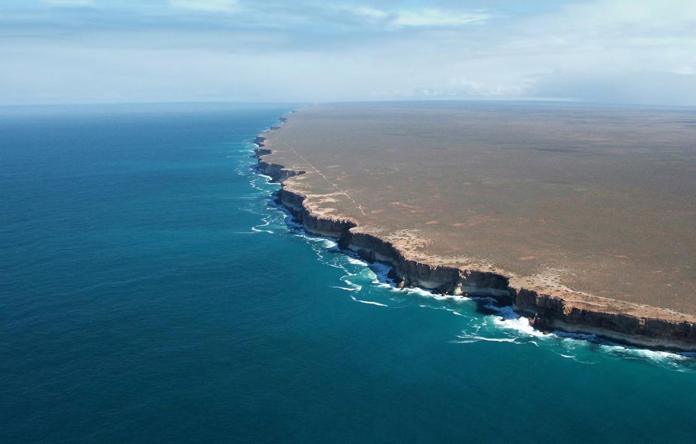 Photo wallpaper the ocean, shore, Australia, South Australia, Nullarbor