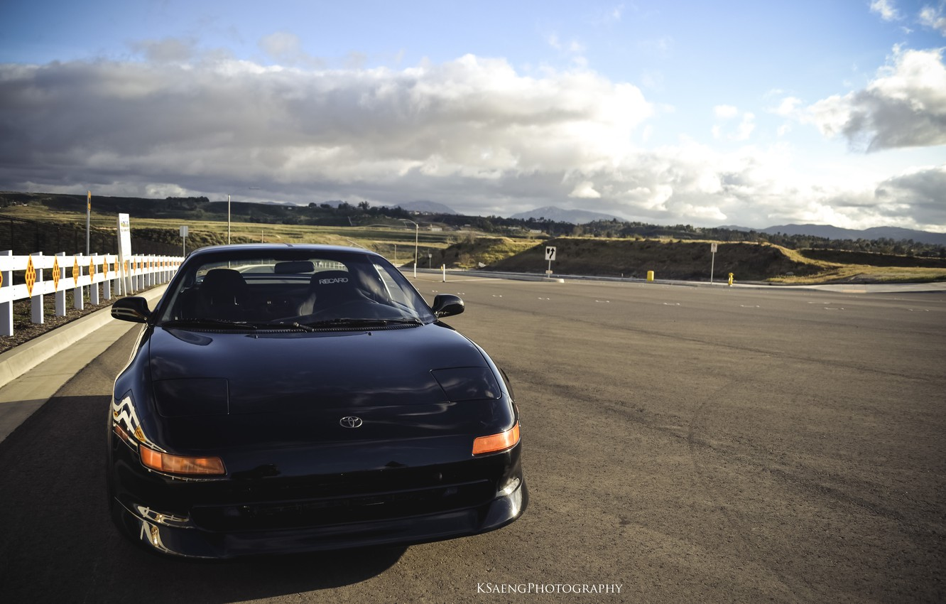Photo wallpaper road, the sky, black, highway, toyota, mr2, toyota mr2