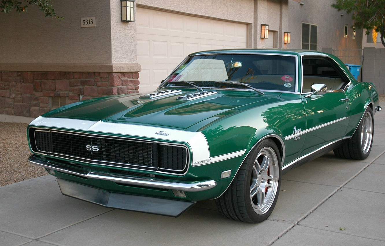 Photo wallpaper Chevrolet, Camaro, Chevrolet, Camaro, Green, Chevy, Super Sport, Muscle car, '1968, Package Included Super Sport, …