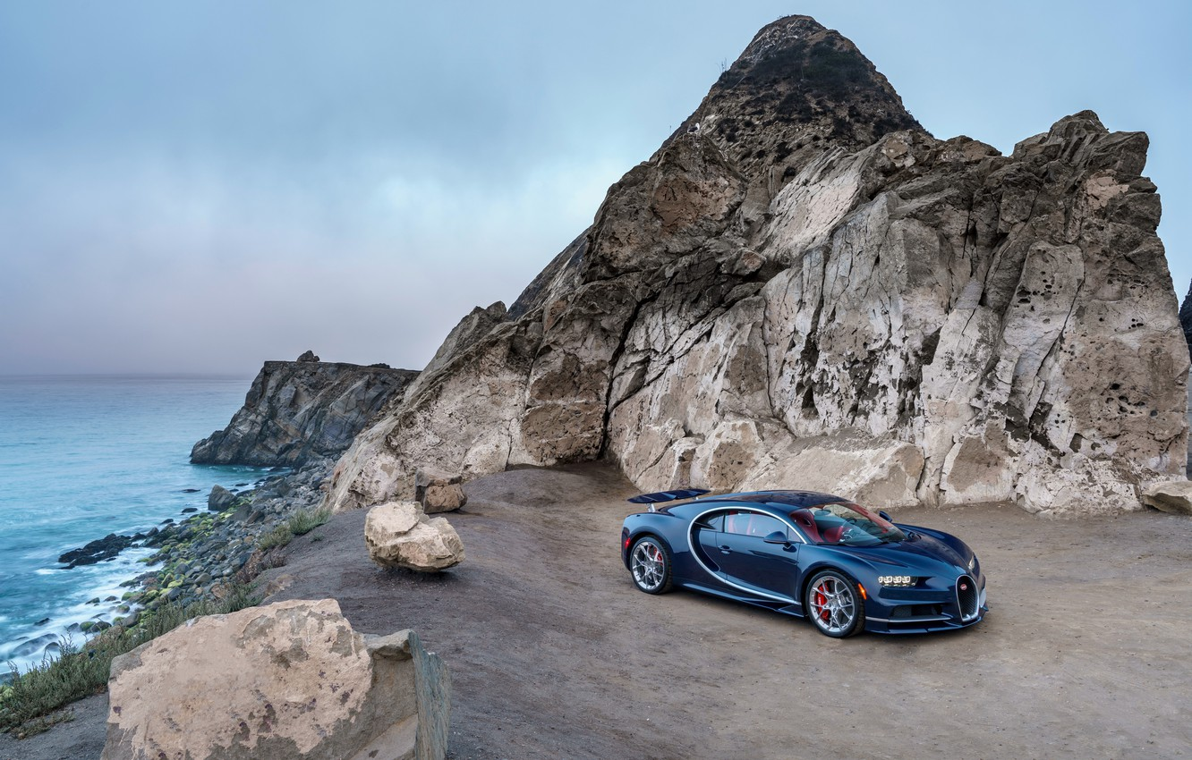 Photo wallpaper sea, the sky, Bugatti, Bugatti, rock, hypercar, Chiron