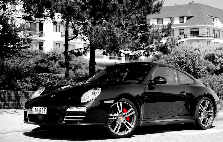 Photo wallpaper Black, Trees, 911, Porsche, Mediocrity, Belastet, Black and White image