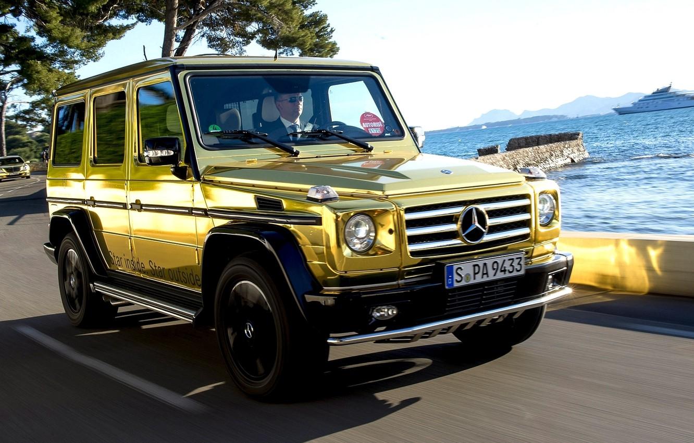 Photo wallpaper car, Wallpaper, mercedes, gold, gold, car, 2012, Mercedes, benz, wallpapers, g500, automobiles, Festival de Canne, …