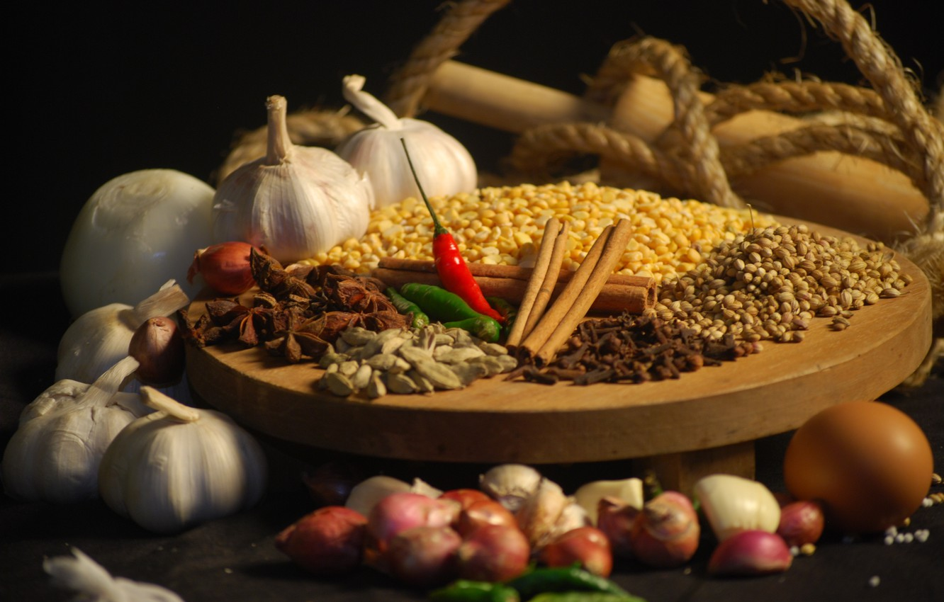 Photo wallpaper pepper, cinnamon, carnation, spices, spices, garlic