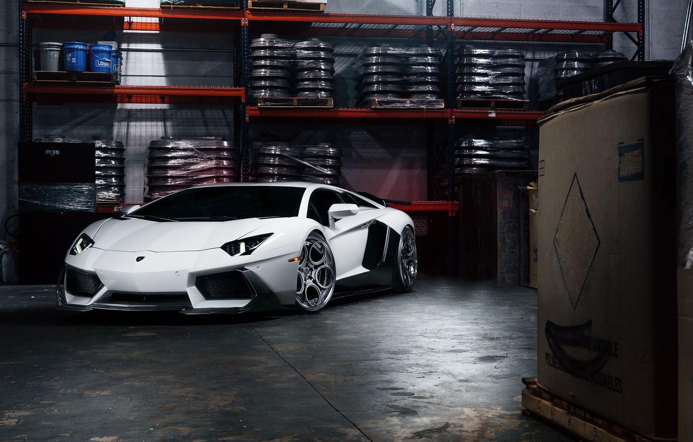 Photo wallpaper Lamborghini, Front, White, Matte, Tuning, LP700-4, Aventador, Supercar, Wheels, Garage, ADV.1
