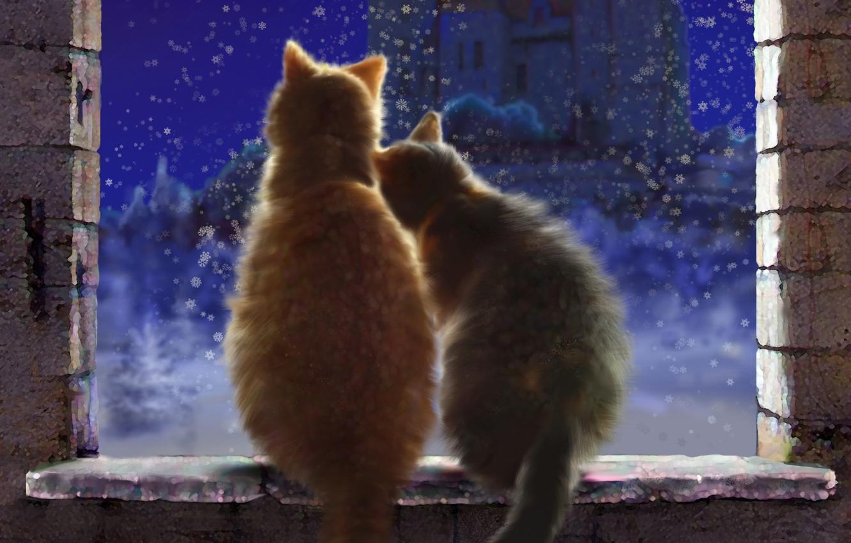Photo wallpaper winter, snow, love, cats, snowflakes, night, castle, window, art, pair, sill