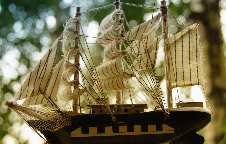 Photo wallpaper color, Ship, sails, statuetka