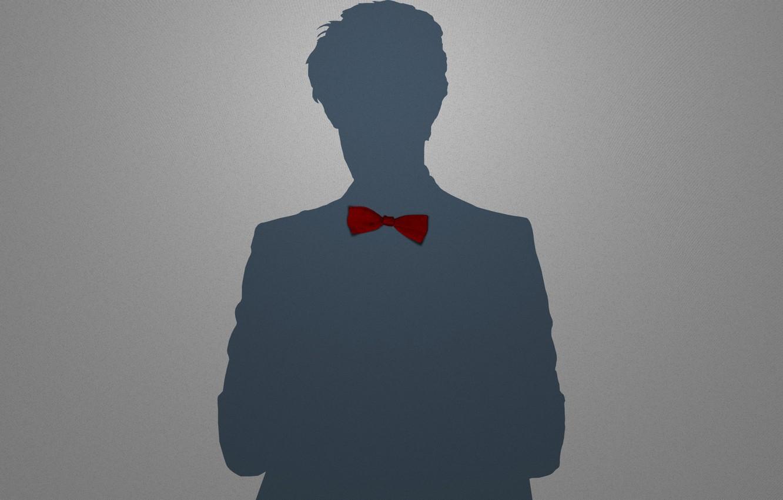 Photo wallpaper red, grey, people, shadow, minimalism, boy, silhouette, tie, male, guy, bow, Babochka