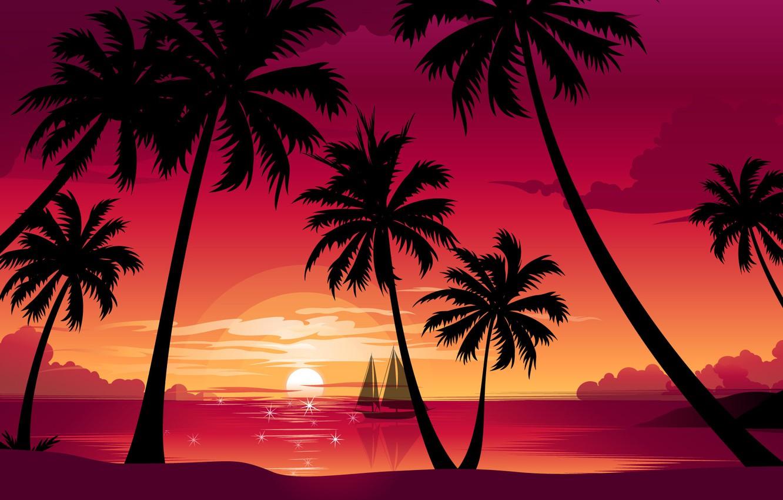 Photo wallpaper sea, beach, the sun, sunset, nature, palm trees, vector, boat