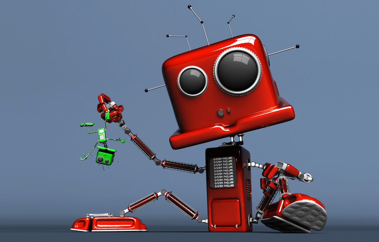 Photo wallpaper red, robot, the situation, green
