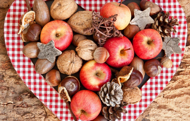 Photo wallpaper autumn, apples, red, fruit, nuts, bumps, acorns, chestnuts