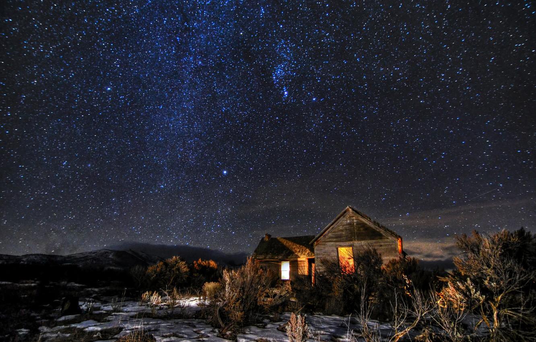 Photo wallpaper space, stars, light, snow, hills, field, Windows, home, The milky way