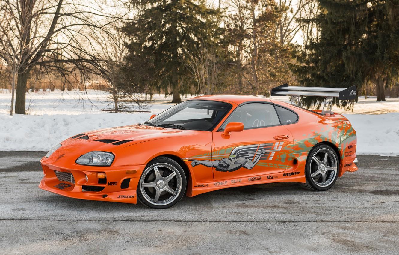 Photo wallpaper Orange, Tuning, Toyota Supra, Racing Edition