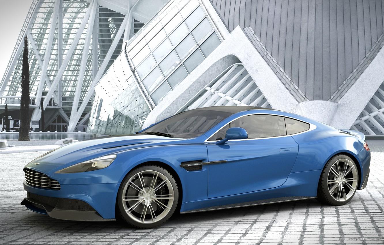 Photo wallpaper blue, Aston Martin, Aston Martin, blue, Vanquish, vankvish, profile, by Dangeruss