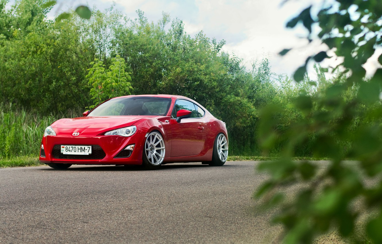 Photo wallpaper Red, Car, Nature, Sport, Summer, Road, FR-S, Scion