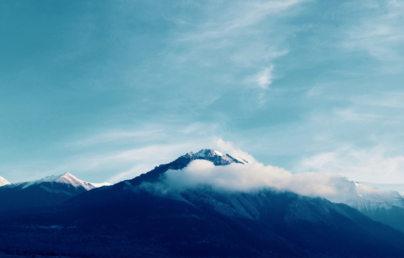 Photo wallpaper clouds, snow, mountains, nature, tops