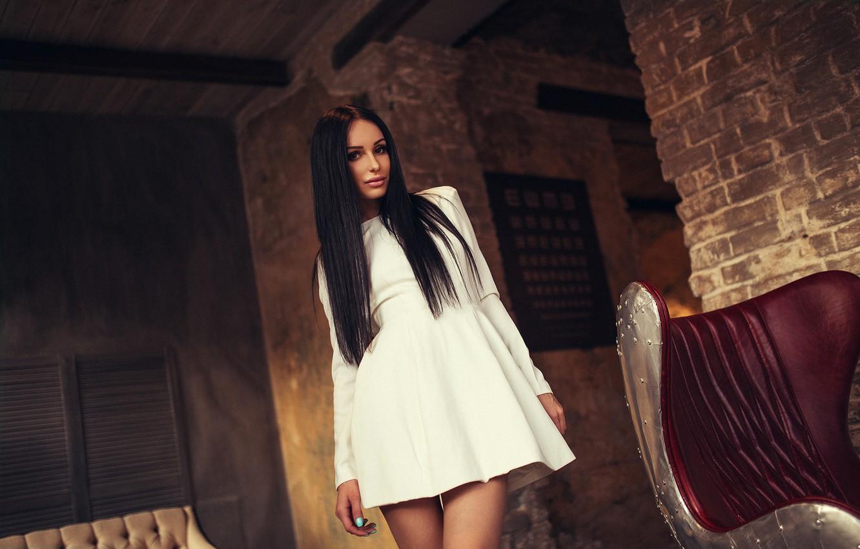 Photo wallpaper Legs, Model, Black, White, Moscow, View, Hair, Dress, Katya, Awesome