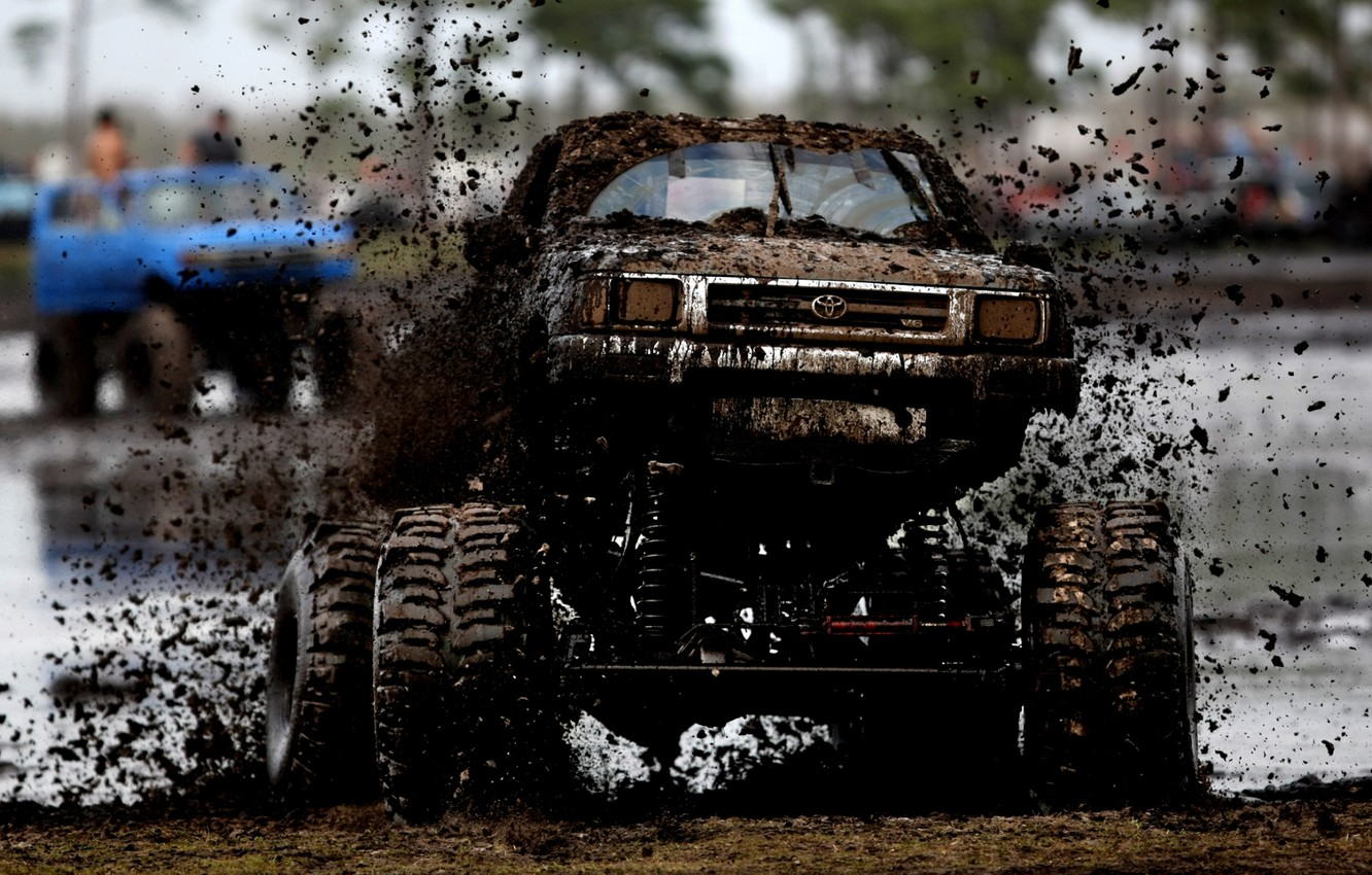 Photo wallpaper squirt, background, tuning, dirt, jeep, Toyota, pickup, Hilux, tuning, the front, wheel, Toyota, Hilux