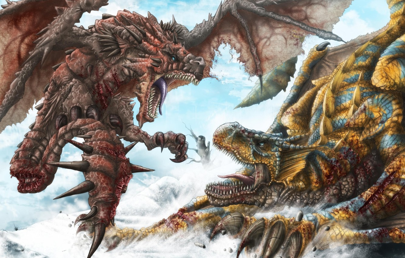 Photo wallpaper snow, blood, dragons, art, spikes, mouth, battle, wounds