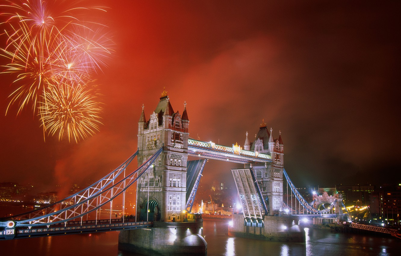 Photo wallpaper bridge, the city, river, London, Fireworks