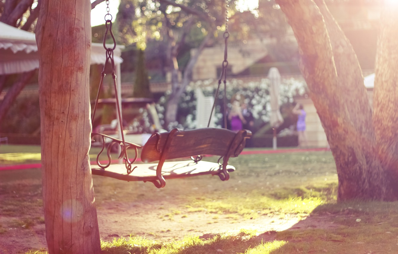 Photo wallpaper summer, trees, yard, swing