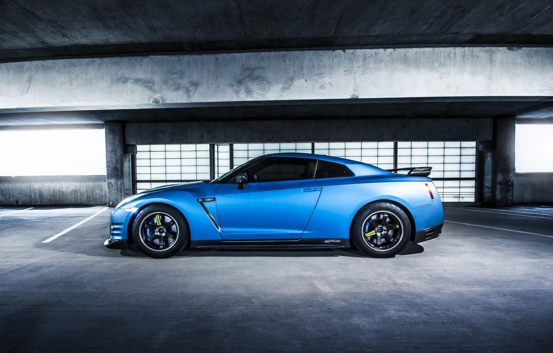 Photo wallpaper GTR, Nissan, Blue, Side, Parking, Jotech, Speed Shield, Wrap