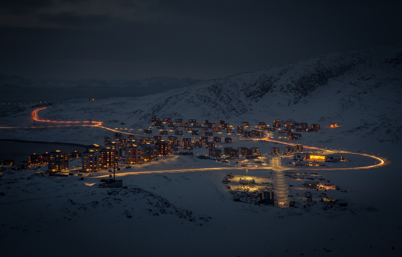 Photo wallpaper snow, mountains, home, Greenland, Greenland
