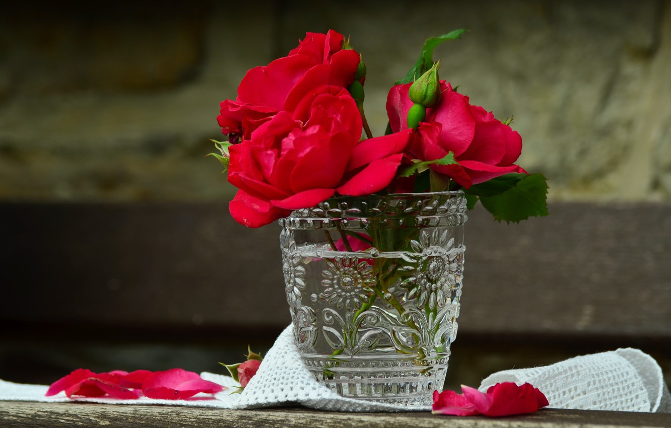 Photo wallpaper flowers, glass, Board, roses, fabric