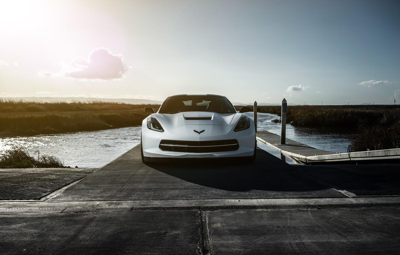 Photo wallpaper Z06, Corvette, Chevrolet, Car, Sunset, American, Supercharged, Matte White