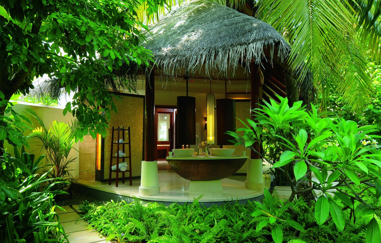 Photo wallpaper summer, palm trees, stay, jungle, the hotel, Bungalow, Spa