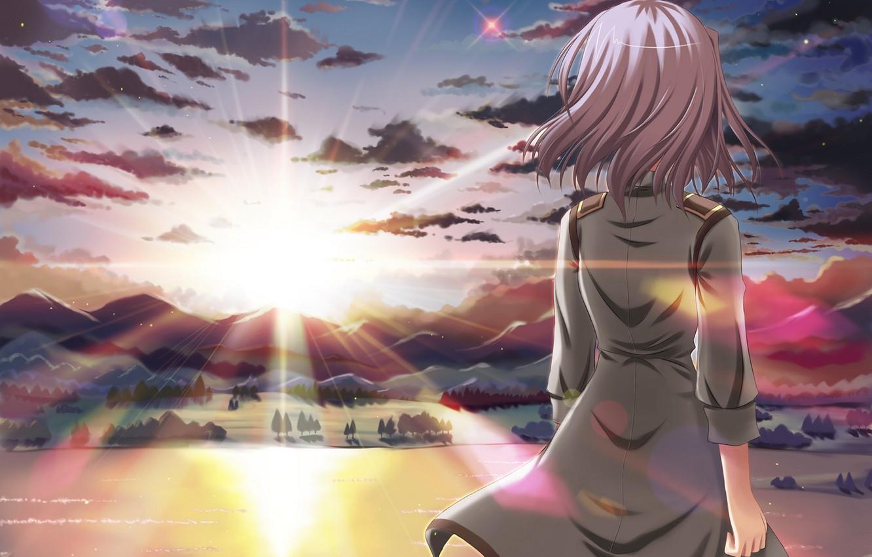 Photo wallpaper the sky, girl, the sun, clouds, sunset, mountains, nature, back, anime, art, eden, sakurano kurimu