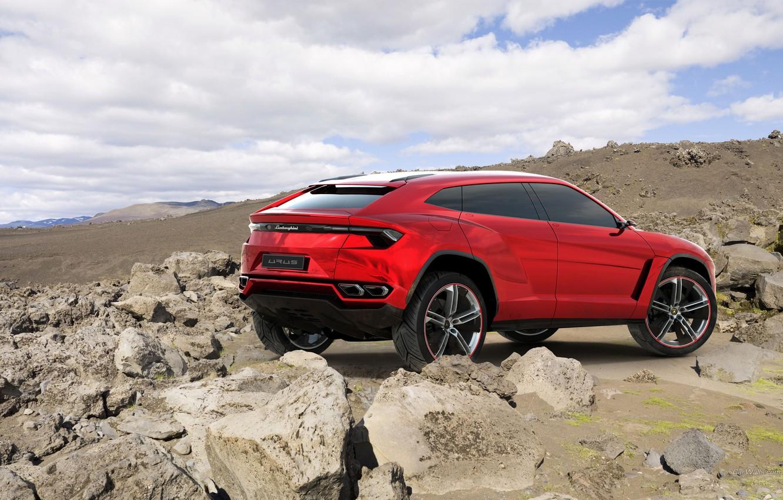 Photo wallpaper Concept, the sky, red, stones, Lamborghini, jeep, the concept, rear view, Lamborghini, Urus, Urus