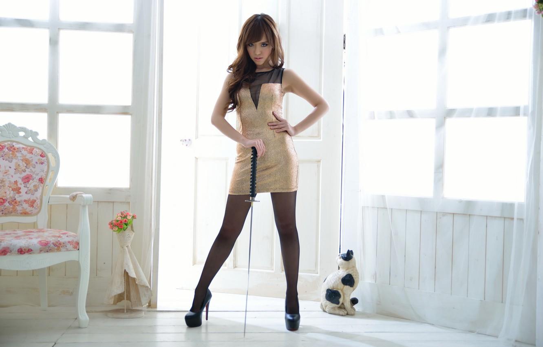 Photo wallpaper girl, weapons, sword