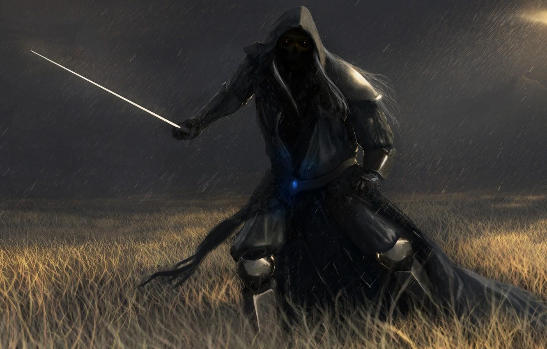 Photo wallpaper field, rain, darkness, people, skull, sword, art, hood, dead