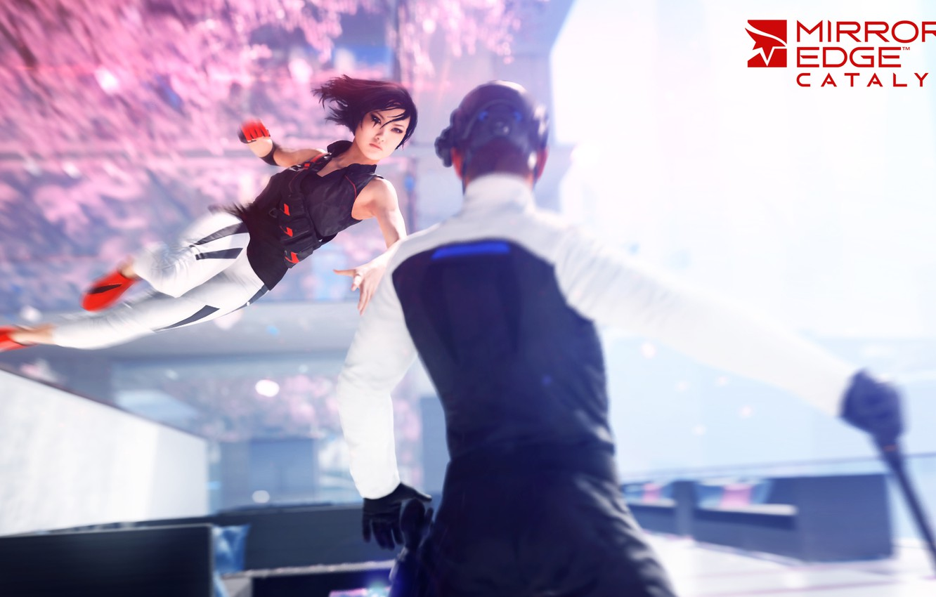Photo wallpaper girl, jump, the game, blow, the enemy, Mirror's Edge: Catalyst