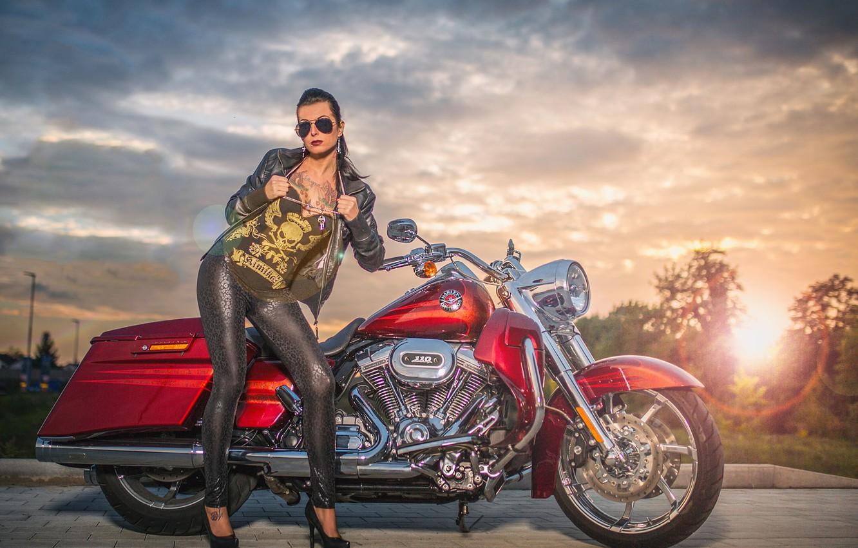 Photo wallpaper girl, red, tattoo, motorcycle, Harley Davidson, bike, rock, Harley
