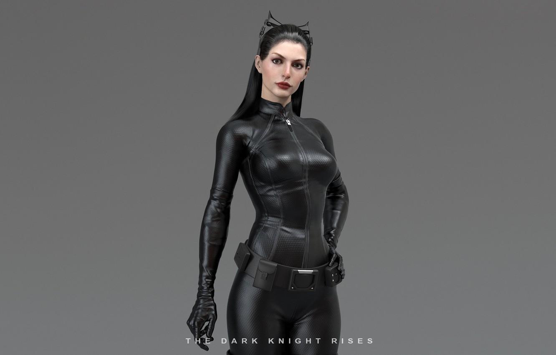 Photo wallpaper girl, costume, ears, superhero, simple background, Catwoman