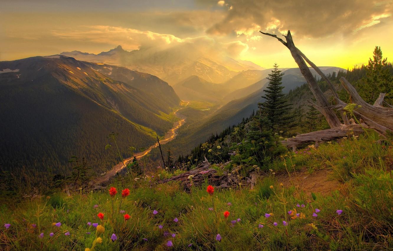 Photo wallpaper grass, clouds, river, Mountains