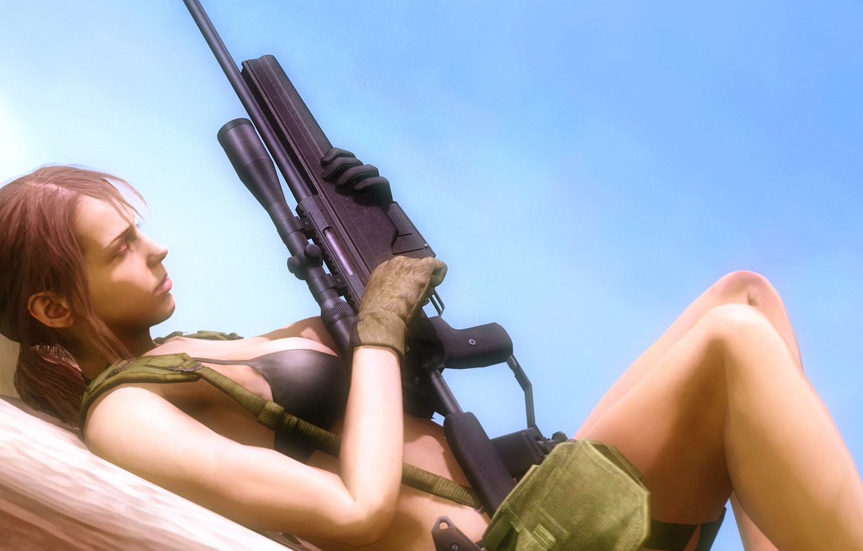 Wallpaper chest, girl, sniper, rifle, Metal Gear Solid, konami