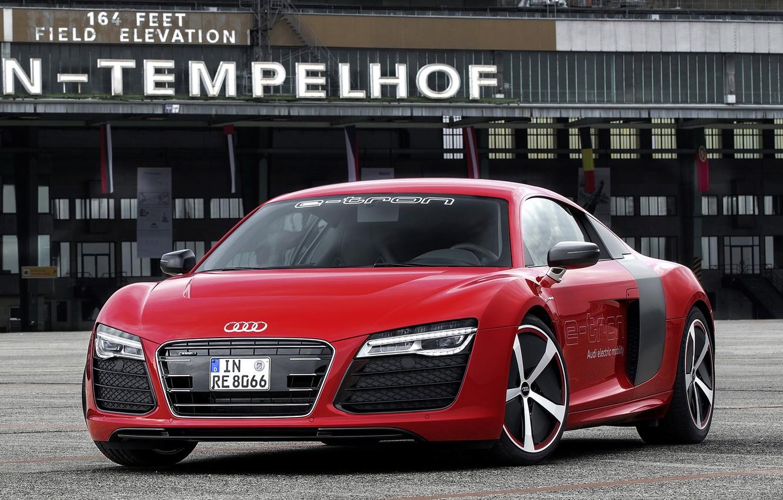 Photo wallpaper red, Audi, Prototype, supercar, the front, e-Tron