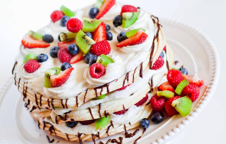 Photo wallpaper raspberry, food, kiwi, blueberries, strawberry, cake, cake, fruit, cake, cream, dessert, food, sweet, fruits, cream, …