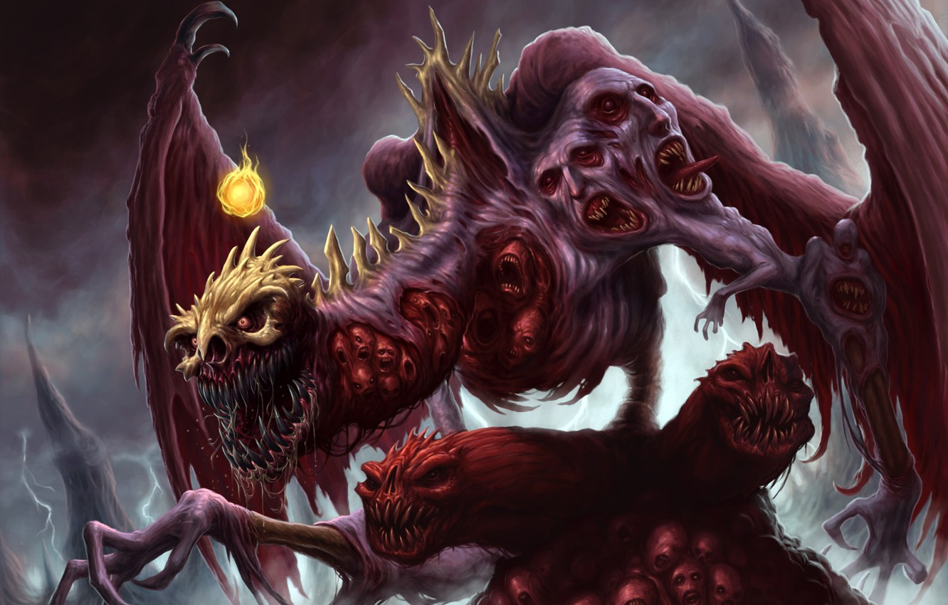 Photo wallpaper dragon, wings, paws, face, mouth, claws, fangs, skull, corpses, fireball