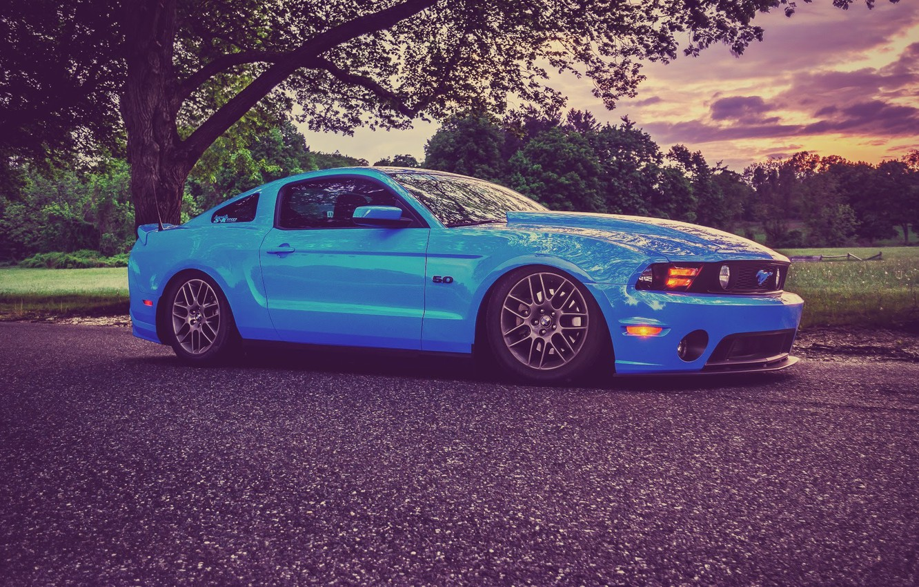 Photo wallpaper Mustang, Ford, Road, Wheel, Ford, Muscle, Mustang, Car, Blue, 5.0, Before, Road, Kar, Wheels, Oil