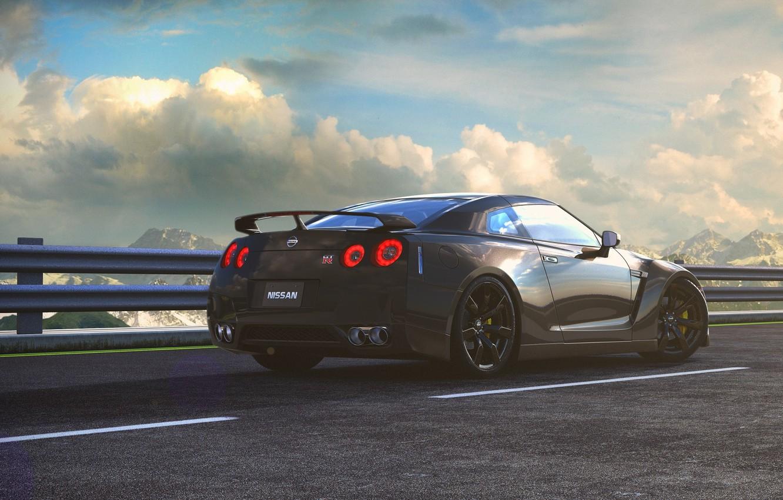 Photo wallpaper Nissan, GT-R, Car, Sky, Mountains, Road, Wheels, Spoiler, Litgh