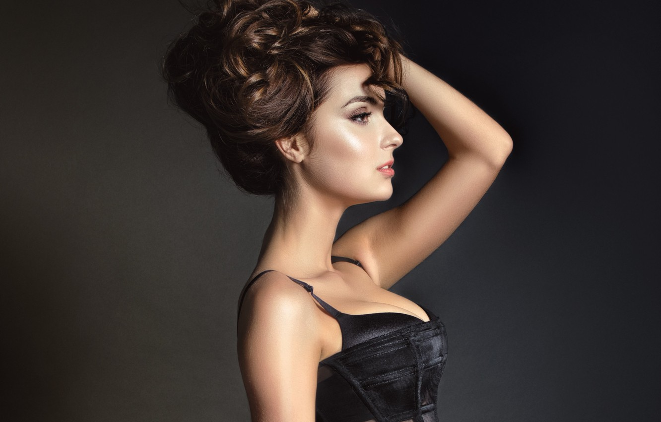 Photo wallpaper girl, face, background, makeup, hairstyle, profile