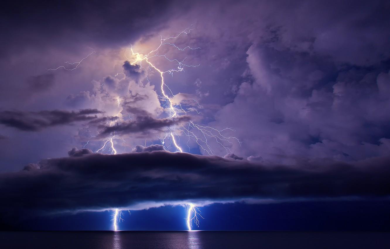 Photo wallpaper sea, the sky, night, clouds, the ocean, zipper