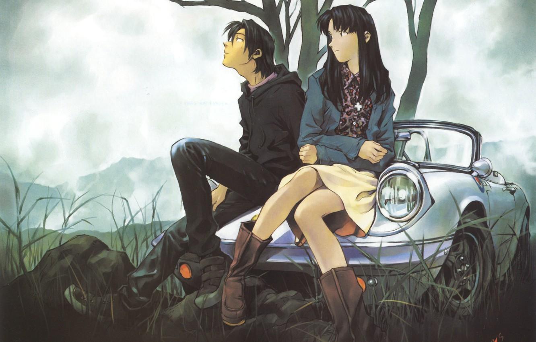 Photo wallpaper machine, grass, girl, clouds, nature, tree, guy, neon genesis evangelion, long hair, sitting, nge, katsuragi …