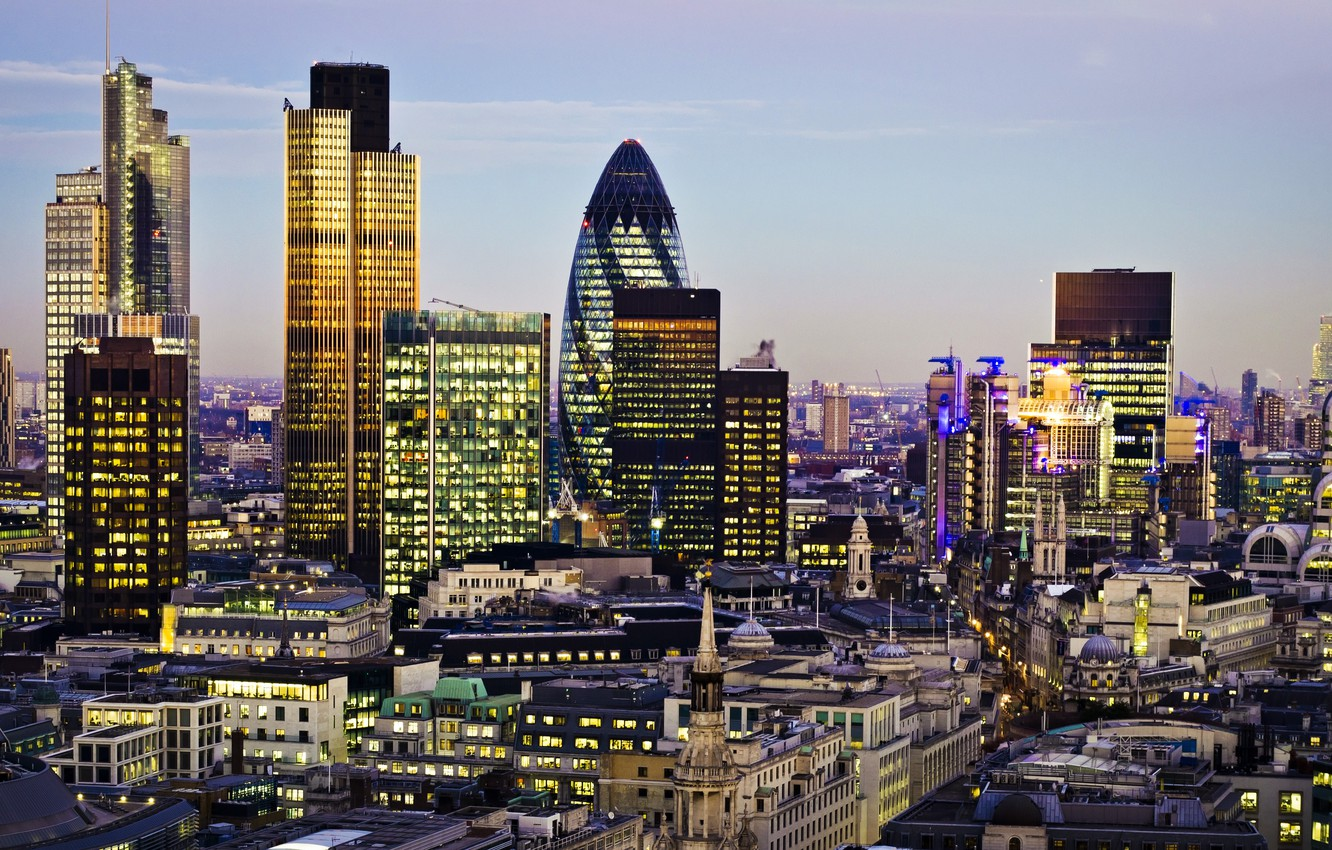 Photo wallpaper the city, lights, England, London, building, home, the evening, panorama, UK, skyscrapers, London, England, Great …